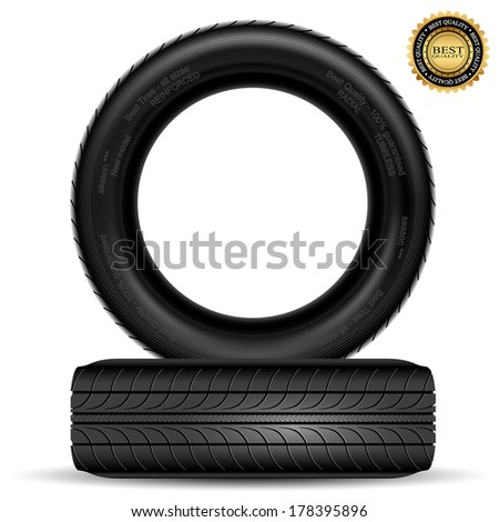 Illustration of car tire isolated on white background. Vector. - stock vector