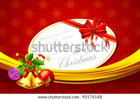 illustration of card on christmas decoration background - stock vector
