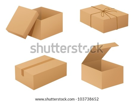 Illustration of cardboard boxes on white - stock vector