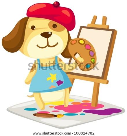illustration of cartoon artist dog painting  on white - stock vector