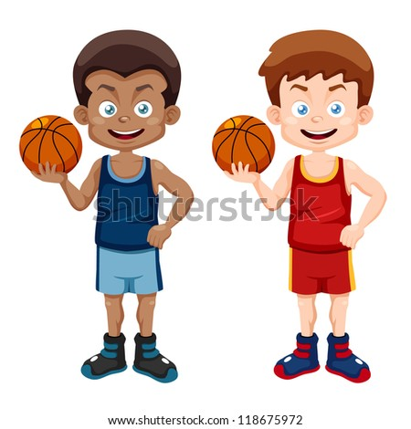 illustration of cartoon basketball player - stock vector