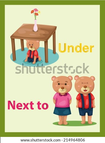 illustration of  cartoon bear with vocabulary under and next to - stock vector