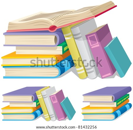 Illustration of cartoon book pile in 3 different versions. - stock vector