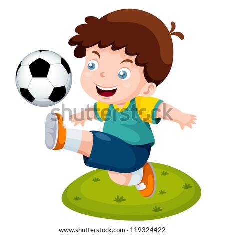 illustration of Cartoon boy playing soccer - stock vector