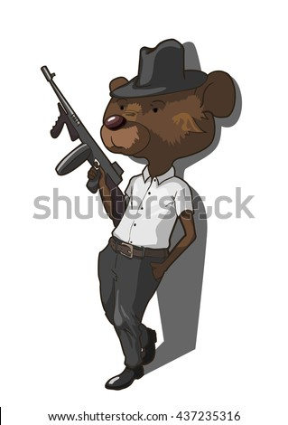 Tommy Gun Gangster Drawings Tommy-gun Stock Images...