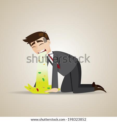 illustration of cartoon businessman puke on floor - stock vector