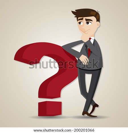 illustration of cartoon businessman thinking with question mark - stock vector