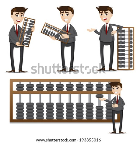 illustration of cartoon businessman with abacus set - stock vector
