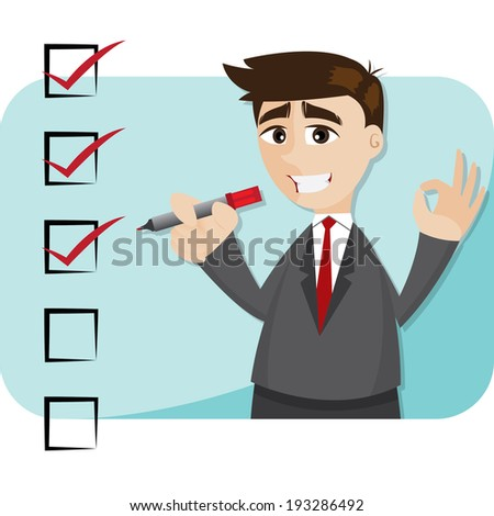 illustration of cartoon businessman with checklist - stock vector