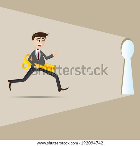 illustration of cartoon businessman with key running to opportunity - stock vector