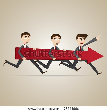 illustration of cartoon businessmen carry red arrow in teamwork concept - stock vector