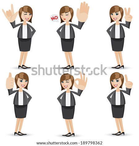 illustration of cartoon businesswoman with sign hand - stock vector