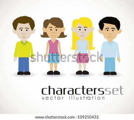 illustration of cartoon characters isolated on white background, vector illustration - stock vector