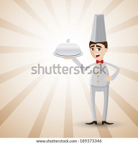illustration of cartoon chef showing a food tray.on shiny background. - stock vector