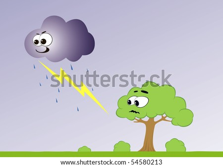 Illustration of cartoon cloud with lightning and scared tree.