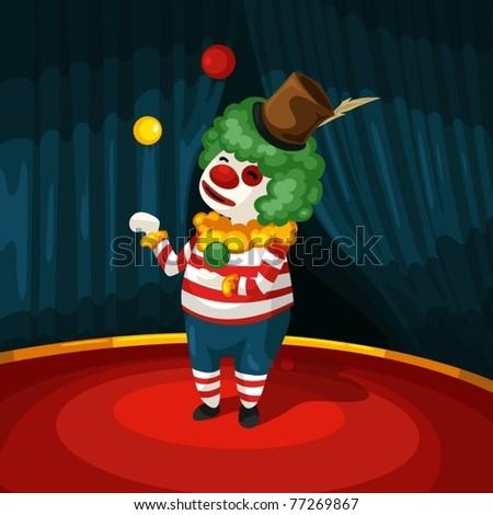 illustration of cartoon clown on stage - stock vector