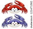 illustration of Cartoon crab vector - stock vector