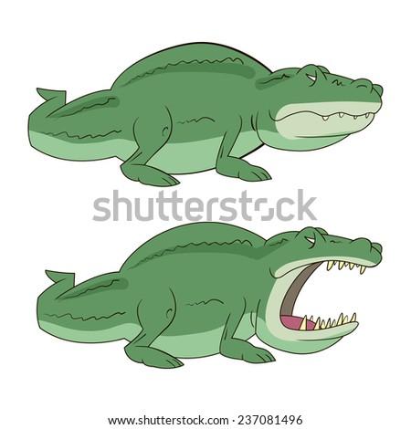illustration of Cartoon crocodile vector - stock vector