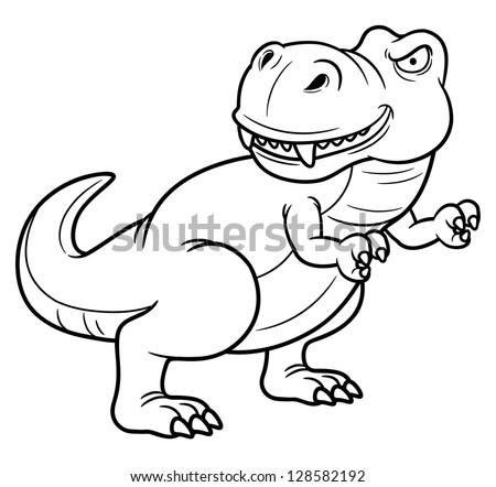 illustration of cartoon dinosaur - Coloring book - stock vector