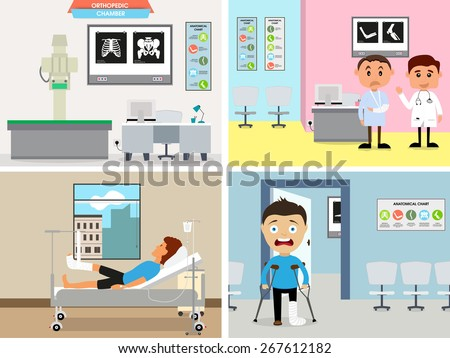 Illustration of cartoon doctor and patient in orthopedic chamber. - stock vector
