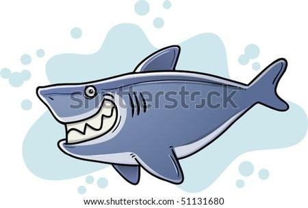 Illustration of Cartoon Fat Shark - stock vector