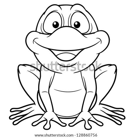 illustration of cartoon frog coloring book