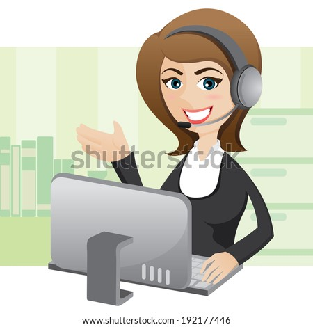 illustration of cartoon girl call center with computer  - stock vector