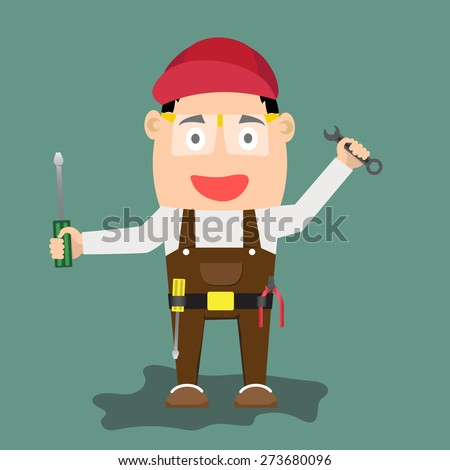 illustration of cartoon handyman with wrench and tools. vector illustration. - stock vector