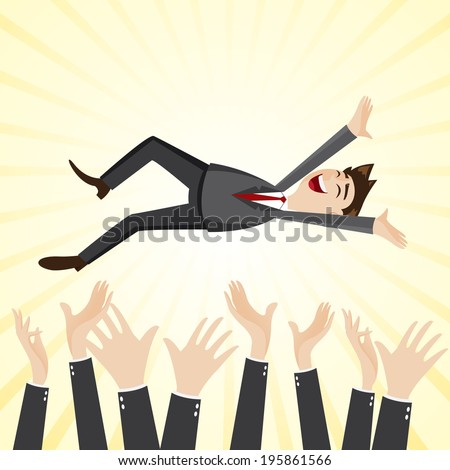 illustration of cartoon happiness businessman throw up teammate hand in success concept - stock vector