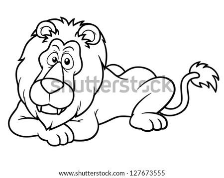 Illustration Cartoon Lion Coloring Book Stock Vector 127673555 ...