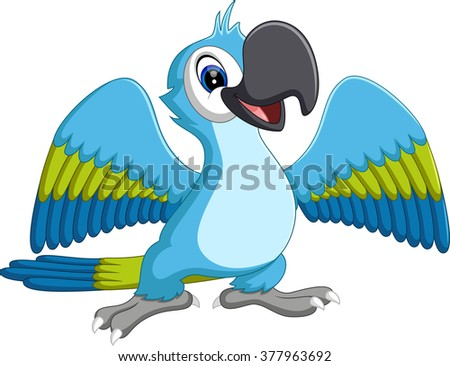 illustration of Cartoon macaw flying - stock vector