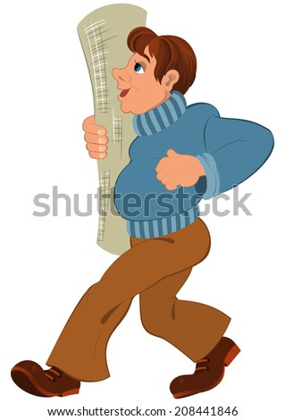 Illustration of cartoon male character isolated on white. Cartoon man in blue sweater and rolled wallpaper in hand.