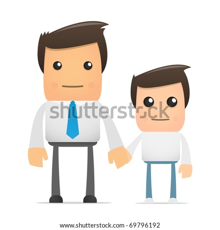illustration of cartoon office worker and his son - stock vector