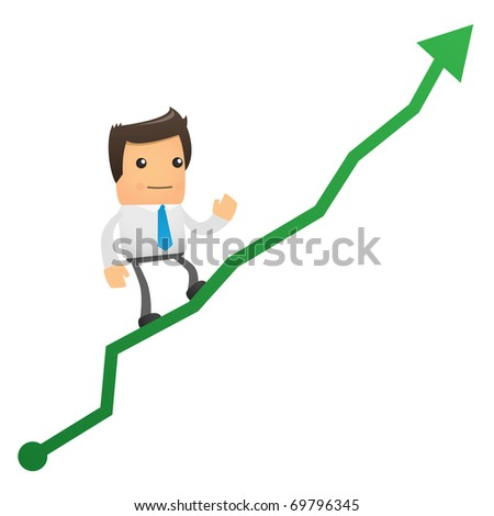 illustration of cartoon office worker climbs up chart - stock vector