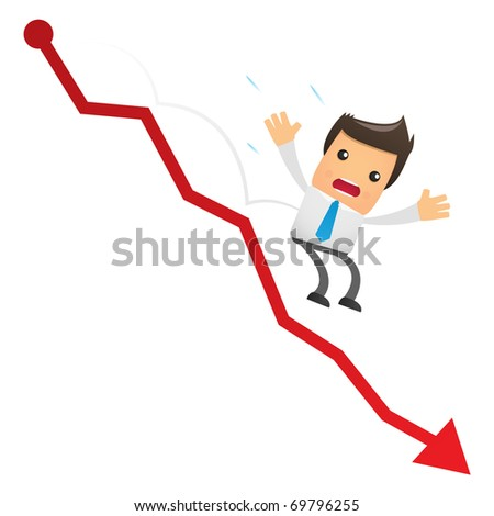 illustration of cartoon office worker falling from the chart - stock vector