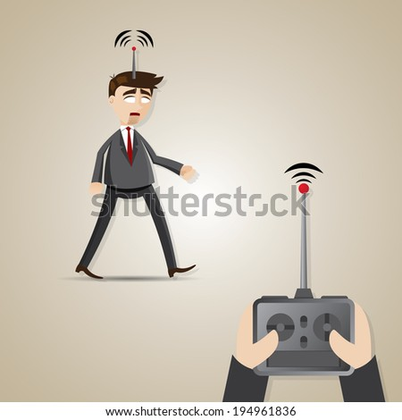 illustration of cartoon robotic businessman controlled by boss in employment concept - stock vector