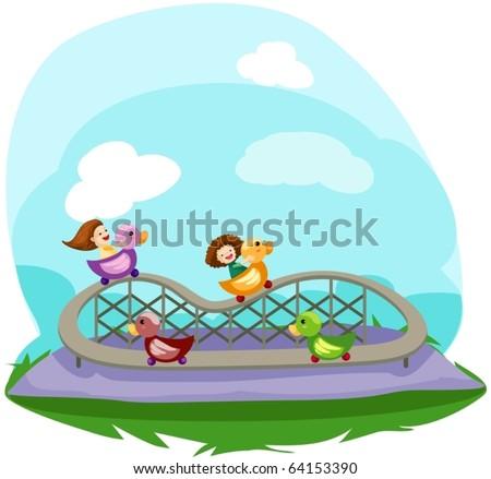illustration of cartoon  rollercoaster ride - stock vector