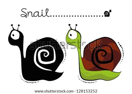 Illustration of cartoon Snail, vector silhouette - stock vector