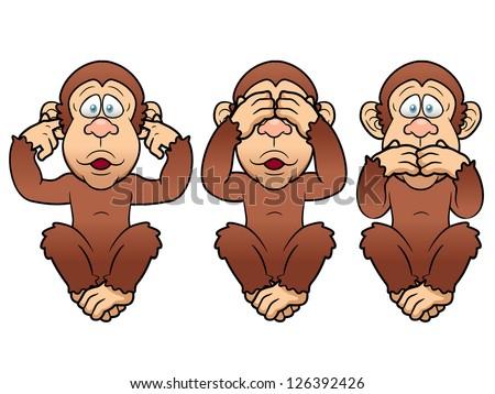 illustration of cartoon Three monkeys - see, hear, speak no evil - stock vector