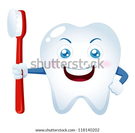 illustration of Cartoon tooth holding a toothbrush - stock vector