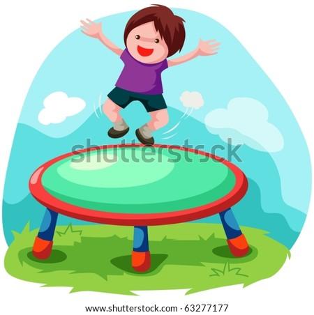 illustration of cartoon trampoline jumping - stock vector