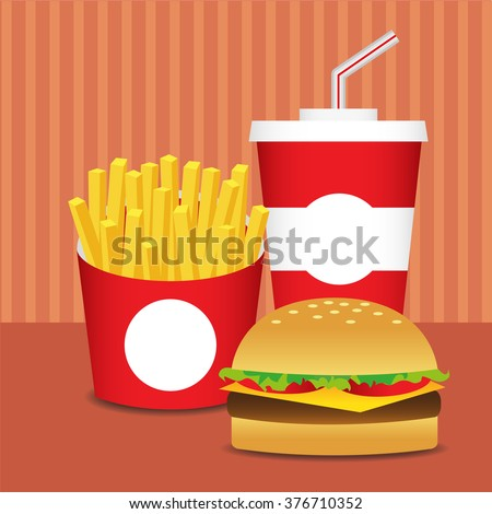 Illustration of cartoon vector fast food on the table.