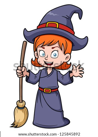 illustration of cartoon witch with broomstick - stock vector