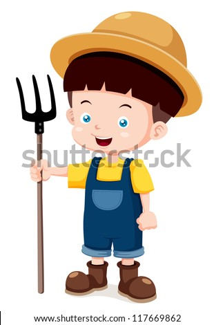 illustration of Cartoon young farmer - stock vector