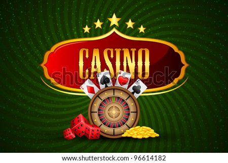 illustration of casino board with roulette and coin - stock vector