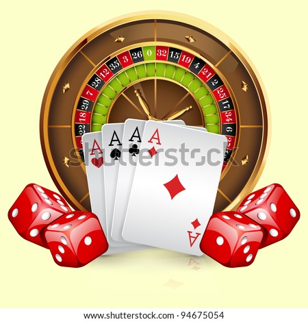 Illustration of casino roulette wheel with cards and dice. Isolated on white background - stock vector