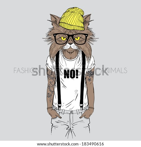 Illustration of cat dressed up in t-shirt with quote - stock vector