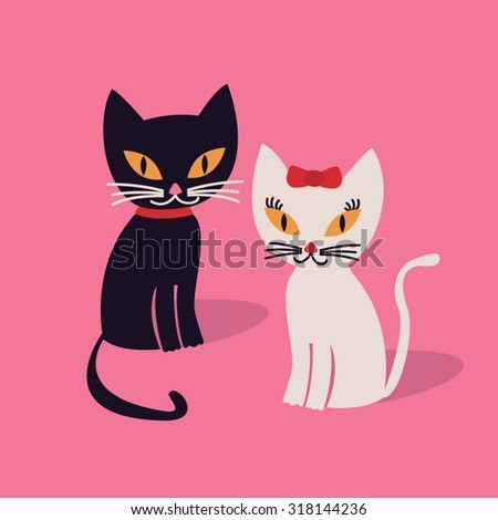 Illustration of cats - stock vector