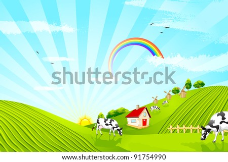 illustration of cattle grazing in beautiful farm landscape - stock vector