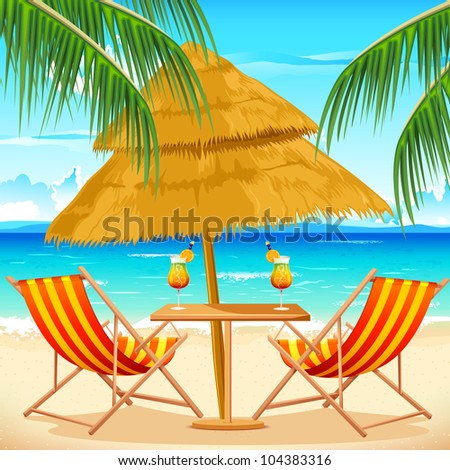 illustration of chair on beach background with palm tree - stock vector